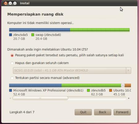 Langkah Ke 4 dari 8 langkah install linux