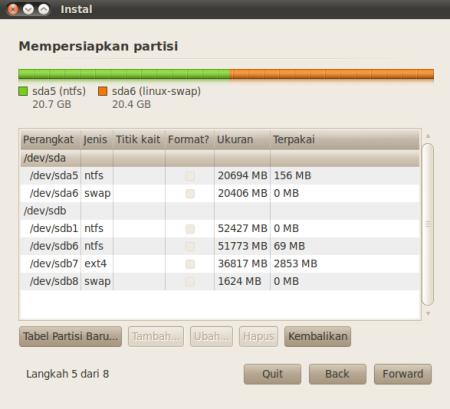 Langkah ke  dari 8 langkah install linux